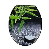 Asiento de inodoro universal de MDF de madera de alta calidad, tapa para inodoro con bisagras de acero inoxidable y muchos diseños de colores para el baño, Trendy Line (Foglie)