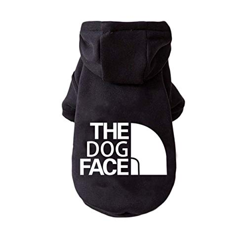 Dog Face Hoodie Sweatshirt Sweater Fleece for Chilly Small Miniature Dog Puppy (Small 13' Chest, Back 8', 2-4lbs, Black)