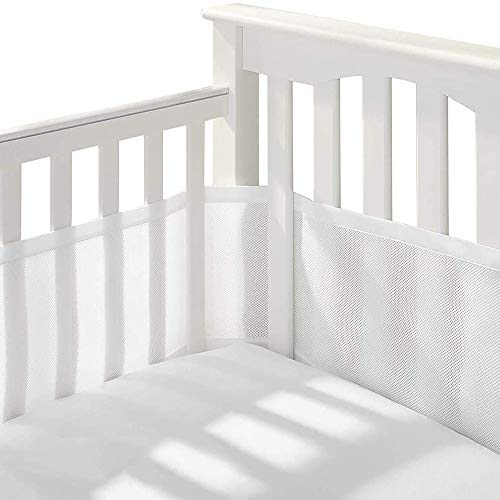 2 Pcs Baby Crib Bumper Breathable Mesh, Easy Air Mesh Solid End Cot Bed Liner Set,Nursery Cot Bed Bumper,Baby Bed Around Safety Protector