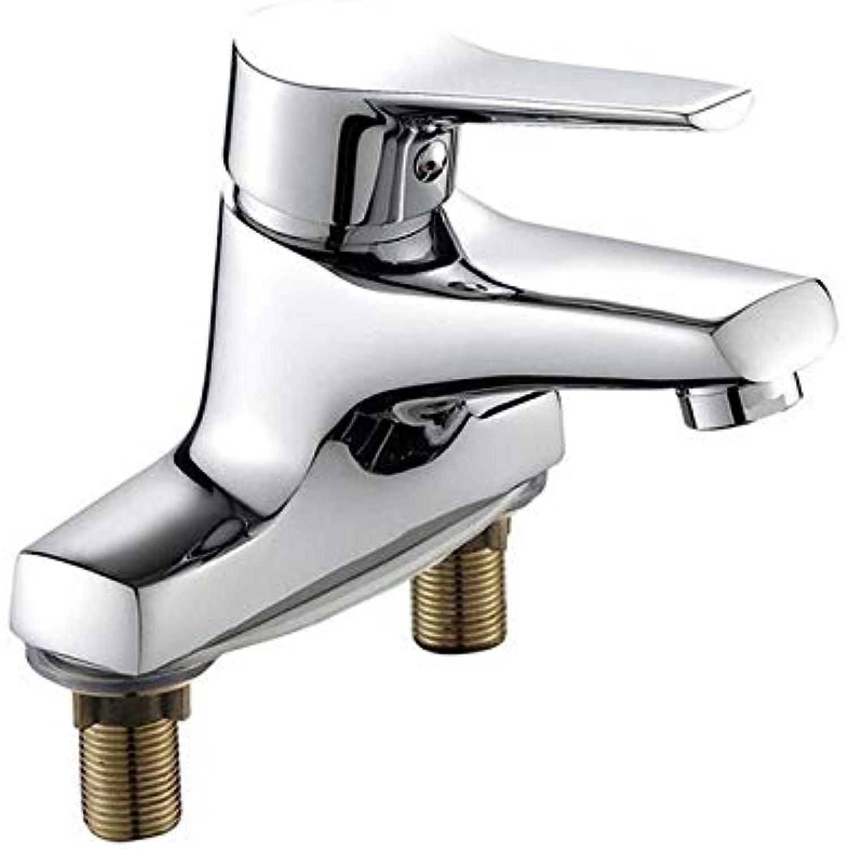 360 Grad, Drehbar, Gebogen-Gegen-Chrom,Vollkupfer Waschbecken Warm Und Kalt Doppelloch Bad Wasserhahn