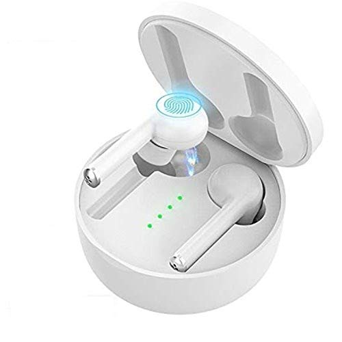 QCHEA Es Cierto Auricular inalámbrico Bluetooth, IPX5 Impermeable con Sonido estéreo y micrófono Estuche Cargador Conveniente, portátil Auriculares del Deporte for iOS y Dispositivos Android