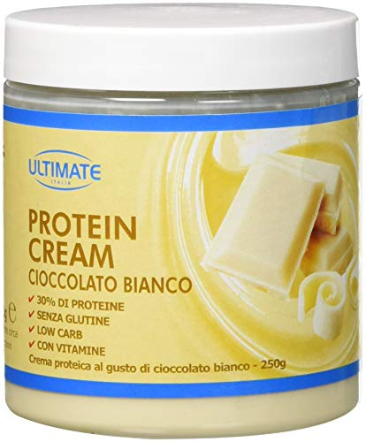 Protein Cream Cioccolato Bianco - Crema Proteica Spalmabile Col 30% Di Proteine Del Siero Del Latte - Whey Isolate Microfiltrate - Senza Glutine - Senza Zucchero - Low Carb - 250 g - Ultimate Italia