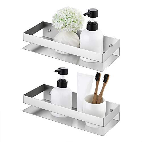 KES Duschregal Badregal Duschablage ohne Bohren Duschkorb zum Hängen Badezimmer Wandregal Ablage Dusche Selbstklebend 30CM Duschablagen 2 Stück Gebürstet, BSC205S30A-2-P2