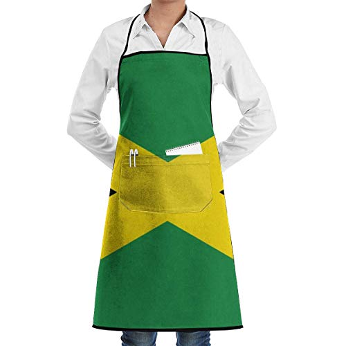 Drempad Jamaican Flag Lustige Backschürze Neuheit Kochchef Geschenk für Männer & ndash; Frauen Backgeschenk BBQ Küchenschürze