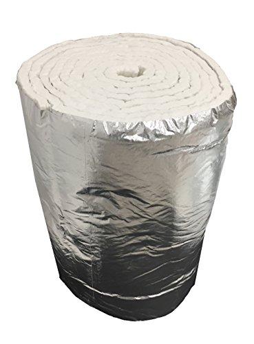 Isolamento Fibra Ceramica ECO + Alluminio, Rotolo 7,30 MT x 61 CM SPESSORE 25 MM DENSITA' 64 KG/M3