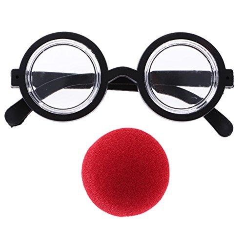 MagiDeal Set Nez de Clown Rouge avec Lunettes Rond Drôles Costume de Déguisement pour Adulte Enfant