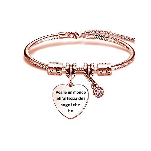 Kraven Pulsera para mujer con regalos de Inspirational, pulsera con colgante personalizado, regalos de Navidad, cumpleaños, joyas de acero Voglio un mundo a la altura de