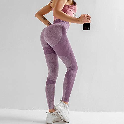 Loungebroek voor Yoga Summer Beach,Sexy perzik hippe yogabroek, gebreide naadloze fitnessbroek-Purple_M,Stretch Gym Workout Running Legging