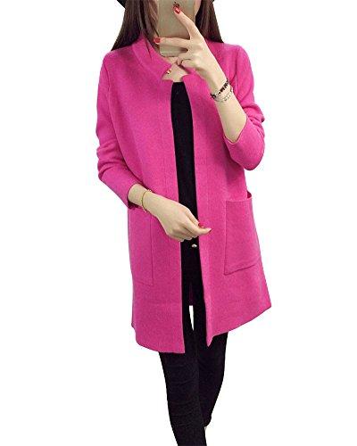 ZhuiKun Damen Langarm Lose Stehkragen Strickjacke Cardigan Strickmantel Outwear Tops Pullover mit Tasche Rose