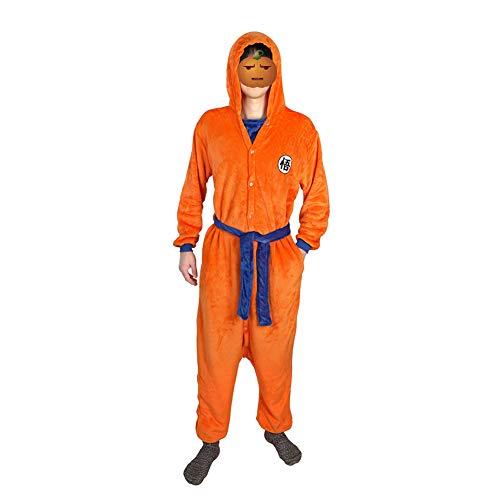 Dragon Ball Son Goku Cosplay Hooded Jumpsuit Flannel Sleepwear Pajamas Men Women Onesies Bathrobe Costume (S/M) Orange