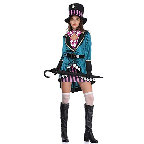 WSJDE Alice in Wonderland Female Role Playing Costume Crazy Adult Costume Fancy Dress Party Halloween Party Carnival Witch Costume L Black