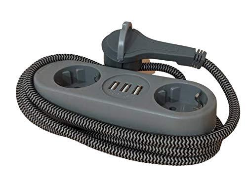 Steckdosenleiste 2-Fach Schukostecker 45 Grad gedreht mit 2 USB Anschlüssen 3,2A für Smartphone, Tablet oder Powerbank und 1,5m Textilkabel, Mehrfachsteckdose mit extra flachem Stecker in grau