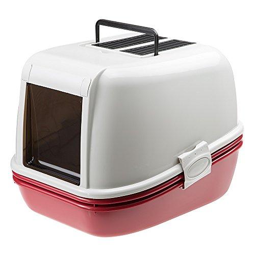 Ferplast Toilette geschlossen mit Sieb für Katzen Magix Katzentoilette mit Sieb-System, stabiler Kunststoff, abgedunkelte Schwingtür, zwei Aktivkohlefilter enthalten, 45,5 x 55,5 x 41 cm, bordeaux