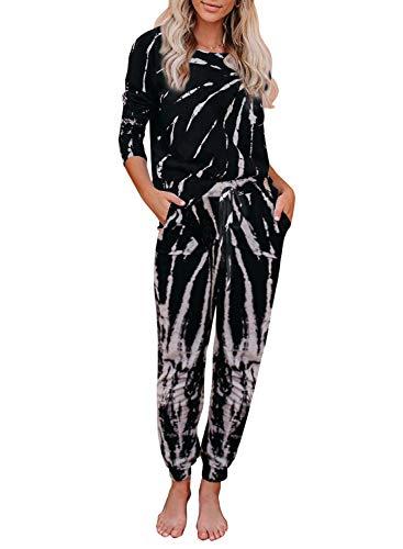 Asvivid Womens Cute Tie Dye Printed Sleep Night Pajamas Lounge Set Long Sleeve Tee Tops with Pants 2 Piece PJ Set XXL Black