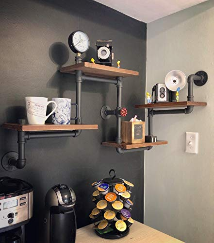 Rustic Wood Ladder Industrial Pipe Wall Shelves 4 Layer