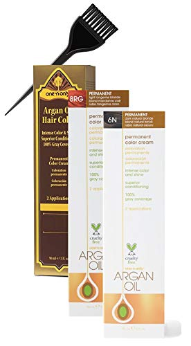One 'n Only Argan Oil Hair Color Permanent Cream, Intense Color & Shine (w/Sleek Brush) 100% Gray Coverage Haircolor Creme Dye, One & Only (11HLA Hi-lift Cool Blonde)