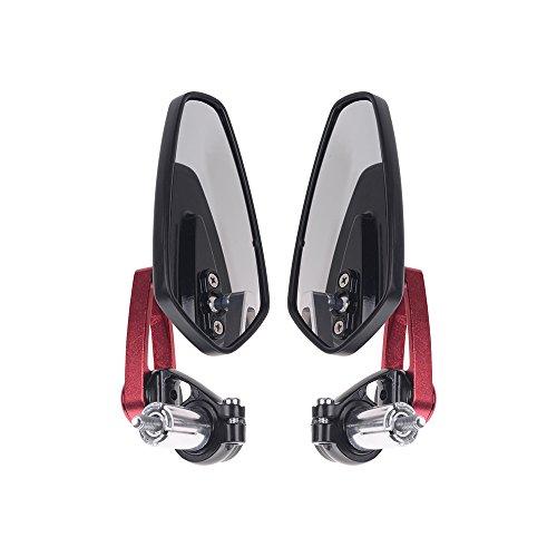 Frenshion Compatibile per 7/8' 22mm Rosso Specchietto Laterale Moto Specchietto Retrovisore Posteriore Manubrio Parti dello Specchio Bici Sportive Specchietti Retrovisori