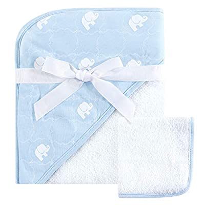 Hudson Baby Woven Hooded Towel and Washcloth Set