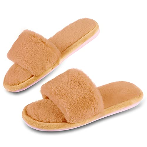 Menore Pantuflas para mujer, sandalias de piel peluda mullida, puntera abierta, antideslizantes, sandalias de felpa deslizantes, para interiores y exteriores, color Amarillo, talla 39/39.5 EU