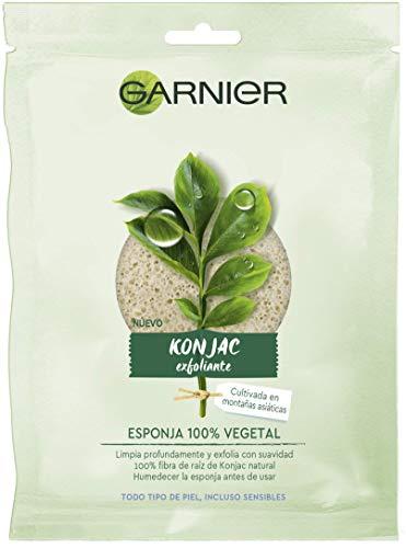 Garnier BIO Esponja Exfoliante Limpiadora de Konjac Natural 100% Vegetal, apta para Pieles Sensibles - 1 unidad