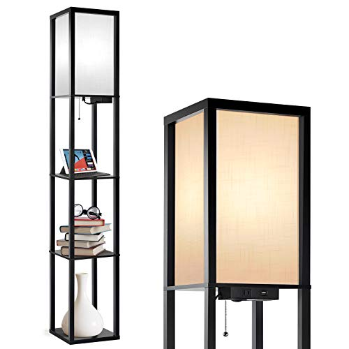 Outon Floor Lamp with Shelves, LED Column Modern Floor Lamp with USB Port & Power Outlet, Display Storage Wood Standing Lamp with White Linen Texture Shade for Living Room, Bedroom, Office (Black)