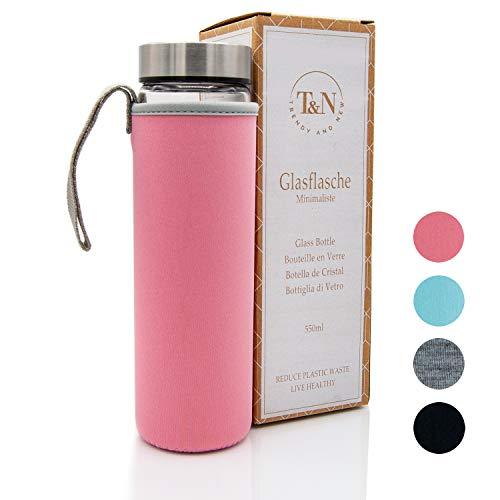 T&N Glasflasche Minimaliste 550 ml - Neoprenhülle Auslaufsicher - Mit GRATIS Glas Strohhalm zum Testen - Trinkflasche Wasser-Flasche - Smoothie Saft Tee - 100% BPA frei (Rosé)