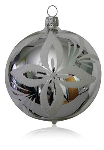 Kugeln silber mit weißen Blumen 5 Stück d 6cm Christbaumschmuck Weihnachtsbaumschmuck mundgeblasen handdekoriert Lauschaer Glas das Original