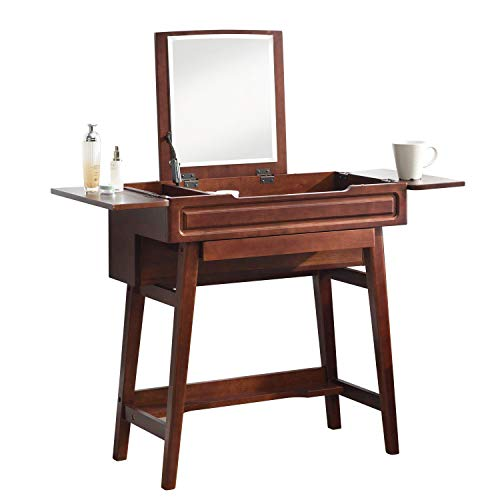 Vlush Vanity Makeup Table with Flip Top Mirror Solid Rubber Wood Dressing Table Writing Desk, 6 Organizers Makeup Accessories & 1 Drawer, Coffee
