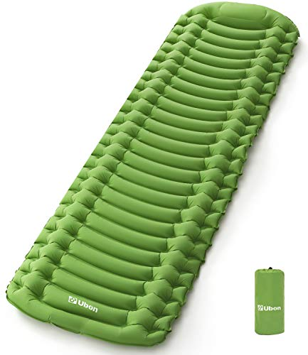 Ubon Materasso Gonfiabile con Cuscino da Campeggio Materasso Autogonfiabile da Escursionismo Impermeabile Ultraleggero Letto Gonfiabile da Spiaggia ad Aria Verde 1P