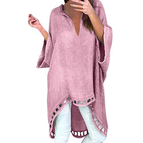 LSAltd Damenmode Vintage Reine Farbe Long Sleeve Baggy Leinen Long Shirt Pullover LäSsige, Schlichte Pulloverbluse Mit V-Ausschnitt