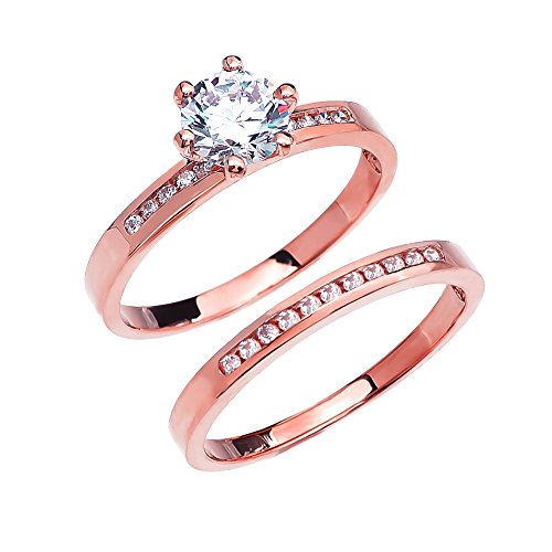 Diamond Channel-Set Rose 9 ct Gold Engagement and Wedding Ring Set with 1 Carat White Topaz Center Stone LII