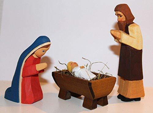 Lotte Sievers-Hahn Krippenfiguren Set Heilige Familie im Baumwollbeutel (Krippenkind blond)
