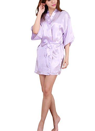 DELEY Mujeres Kimono Satén Seda Color Puro Albornoz Peignoir Bata Ropa de Dormir Vestido Camisón Albornoces Pijamas Morado Claro Tamaño L