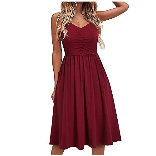 Damen Abendkleid Sommer V-Ausschnitt Einfarbiges Freizeit Spitze Schlinge Temperament Knielang Kleid Wickelkleid Partykleid Cocktailkleid...