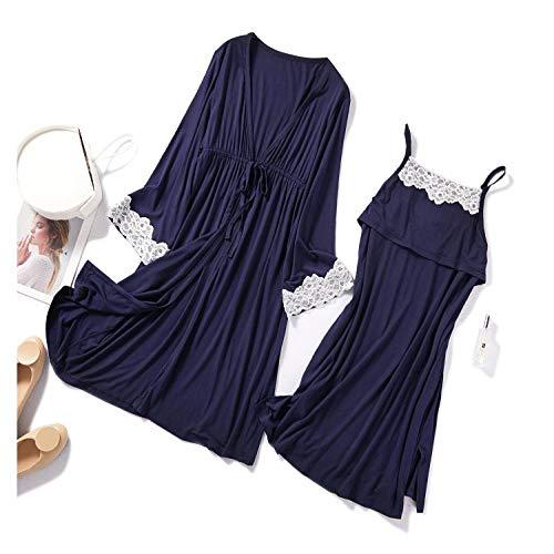 STJDM Nightgown,3PCS Robe Set Pregnancy Maternity Sleepwear Nursing Pregnant Pajamas Breastfeeding Elegant Maternity Nursing Dress L 2PCnavyblue