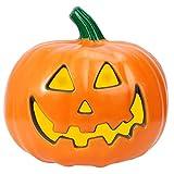 Halloween Happy Jack Pumpkin Jack O'Lantern Orange Pumpkin Light Lantern LED Pumpkin Decor Lantern Halloween Decoration for Home Decor (8.7inch)
