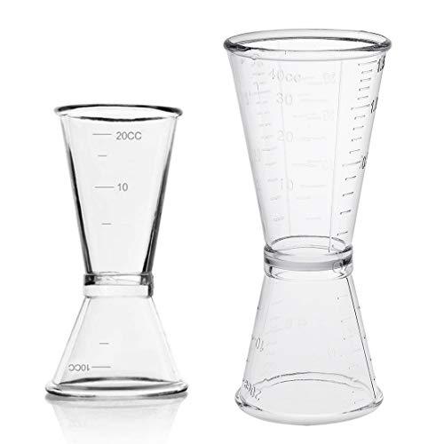 Vaso Medidor para Cócteles, JESSTOLO 2 Japonés Cocktail Jigger Dual Spirit Measure Cup 10ml/20ml & 20ml/40ml, para Bar y Hogar, para Licor, Bebidas, Vino, Ginebra, Whisky,