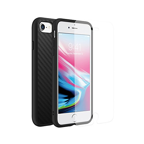 RhinoShield Full Impact Protection Case Compatible with [iPhone SE2 / SE (2020) / 8/7]   Military Grade Drop Protection, Scratch Resistant - Carbon Fiber Texture [Special Bundle w/Screen Protector]