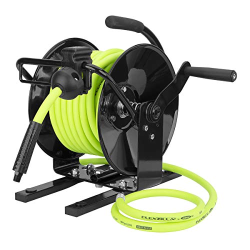 Flexzilla Portable Manual Open Face Air Hose Reel, 3/8 in. x 50 ft, Heavy Duty, Lightweight, Hybrid, ZillaGreen - L8651FZ