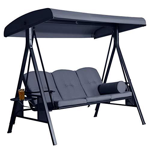 SORARA 3-sitzer Hollywoodschaukel | Grau | extra stabile Ausführung | Gartenschaukel Gartenliege Schaukelbank Gartenmöbel