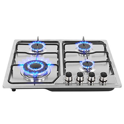 zhuolong Estufa de Gas empotrada de Acero Inoxidable Estufa de Gas de 4 quemadores Gas Natural Propano para Cocina, fácil de Limpiar