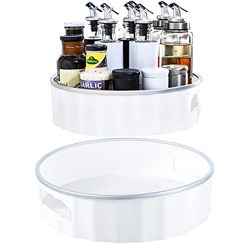 WUWEOT 2 Pack Non-Skid Lazy Susan Storage Turntable, Plastic Cabinet Organizer Containers for Pantry, Countertop, Shelf, Table, Vanity, Bathroom, 9-Inch and 12-Inch, White