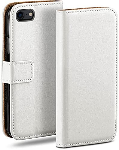 moex Klapphülle kompatibel mit iPhone 7 / iPhone 8 Hülle klappbar, Handyhülle mit Kartenfach, 360 Grad Flip Hülle, Vegan Leder Handytasche, Weiß