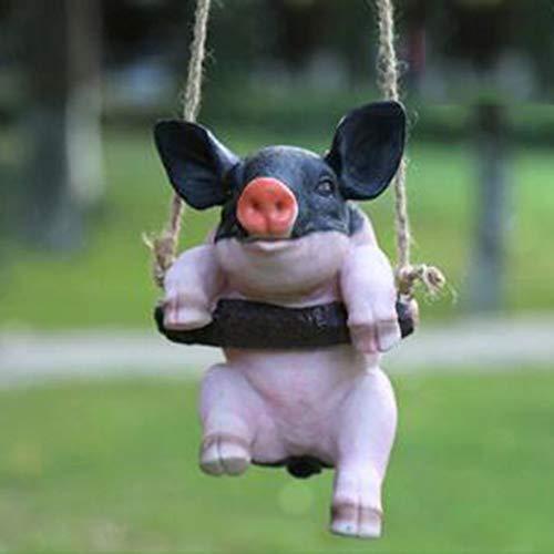 YIYU Swing pig pendant Resin Animal Statue Garden Crafts ornaments decoration x (Color : 3)