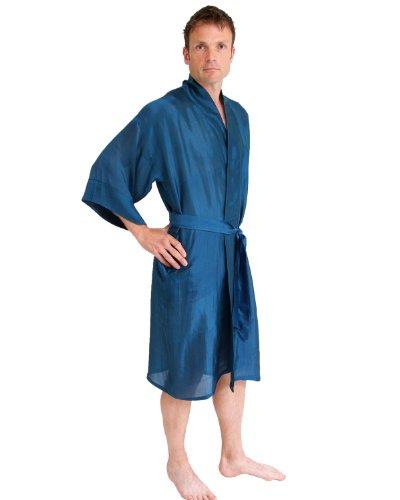 The House of Silk Longue mélange de Soie Kimono - Taille: S-L - Couleur: Bleu