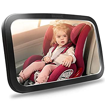 Shynerk Baby Car Mirror Safety Car Seat Mirror for Rear Facing Infant with Wide Crystal Clear View Shatterproof Fully Assembled Crash Tested and Certified