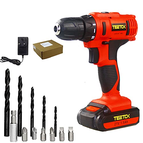 21V 18+1 Cordless Combi Drill Electric Driver Screwdriver Max Torque 45Nm with 1x 1500mAh Li-ion Batteries and Fast Charger 12pc Accessories LED Light