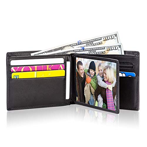 Lositto RFID Blocking Genuine Leather Bifold Wallet for Men with Zipper and Coin Pocket (Vintage Charcoal Black)