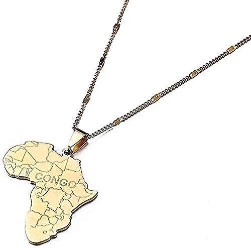 Collar Collar Mujer Collar Hombre Collar Acero inoxidable Mapa de África de moda con Congo Collares pendientes Cadena de mapa africano Collar de joyería Longitud 50 cm Regalo Niñas Niños Collar