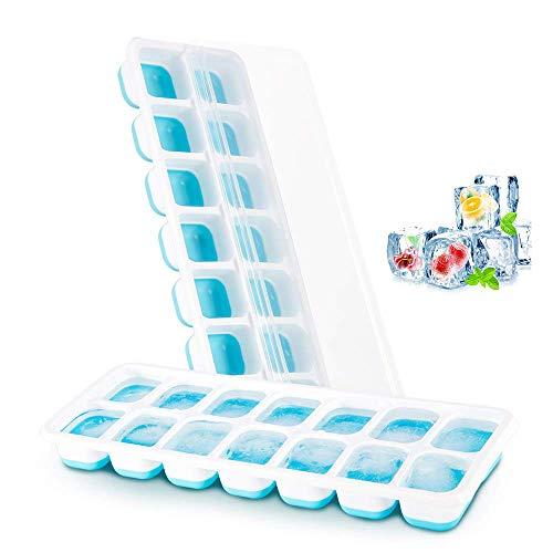 Everwell Eiswürfelform Silikon, Eiswürfel Form Eiswürfelbehälter mit Deckel, Ice Cube Tray 14-Fach, Einfache Entfernung der Eiswürfelformen, LFGB Zertifiziert, Kühl Aufbewahren, Blau